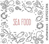 hand drawn frame of seafood... | Shutterstock .eps vector #1819321346