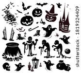 Halloween Elements And Objects. ...