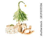 Watercolor Christmas Clipart....