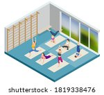 isometric sporty young women... | Shutterstock .eps vector #1819338476