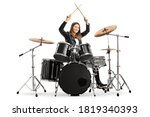 Young female drummer starting a ...