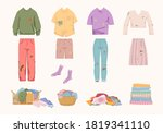 dirty unwashed clothes set....   Shutterstock .eps vector #1819341110