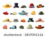 Hats And Color Caps Set. Retro...