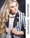 portrait of a beautiful blonde... | Shutterstock . vector #181935284