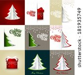 set of  merry christmas and... | Shutterstock .eps vector #181935749