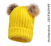 Yellow Women Wool Knit Hat With ...