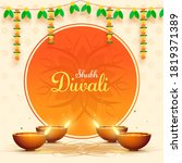illuminated oil lamps  diya ...   Shutterstock .eps vector #1819371389