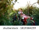 Senior Man Farmer Driving His...