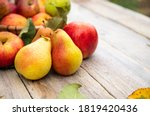 Fruits  Apples And Pears On Old ...