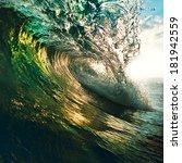 Colorful Ocean Wave Breaking A...