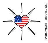 Love Logo Icon With Usa Flag...