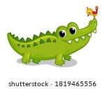 Cute Young Green Crocodile On A ...