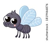 cute gray fly on a white... | Shutterstock .eps vector #1819466876