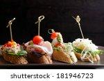 tapas on crusty bread  ... | Shutterstock . vector #181946723
