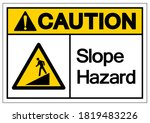caution slope hazard symbol... | Shutterstock .eps vector #1819483226