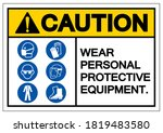 caution personal protective...   Shutterstock .eps vector #1819483580
