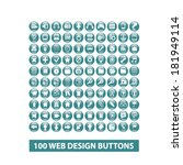 100 web design buttons  icons...