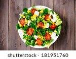 dieting healthy salad  on... | Shutterstock . vector #181951760