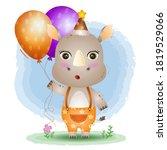 A Cute Rhino Using Birthday Hat ...