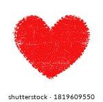 red grunge textured heart shape. | Shutterstock .eps vector #1819609550
