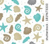 sea seamless pattern with cute... | Shutterstock .eps vector #1819673333