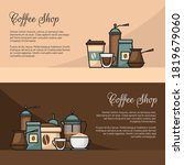 coffee banner. cup and coffee... | Shutterstock .eps vector #1819679060