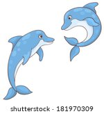 two dolphins isolated on white. ... | Shutterstock .eps vector #181970309