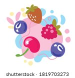 different bright berries on... | Shutterstock .eps vector #1819703273