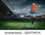 football player with ball in... | Shutterstock . vector #181974914
