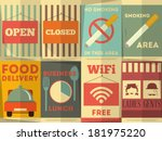 restaurant stickers set.... | Shutterstock .eps vector #181975220