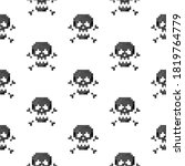 Pixel Art 8 Bit Black Skull...