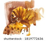 Watercolor African Woman With...