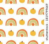 fall rainbow with pumpkin... | Shutterstock . vector #1819799669