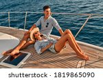 Couple In Love Sitting On Yacht ...