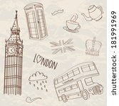 vector set of hand drawn london ... | Shutterstock .eps vector #181991969