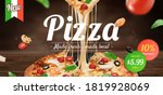 tasty pizza ad with stringy... | Shutterstock .eps vector #1819928069