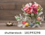 Easter Decoration With Pink...