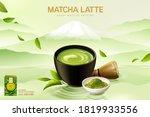 japan matcha latte ad in 3d... | Shutterstock .eps vector #1819933556