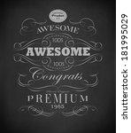 chalk  typography  calligraphic ... | Shutterstock . vector #181995029
