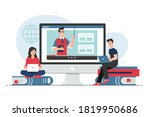 people studying with laptop....   Shutterstock .eps vector #1819950686
