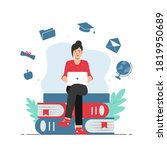 female student studying with... | Shutterstock .eps vector #1819950689
