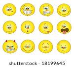 the 12 different emotion smile...   Shutterstock .eps vector #18199645
