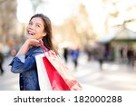 Shopping Woman Happy And...