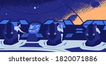 group of astronauts sitting at... | Shutterstock .eps vector #1820071886