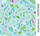cute vector seamless floral... | Shutterstock .eps vector #182007683