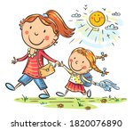 mother and daughter on the way...   Shutterstock .eps vector #1820076890