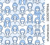 crowd of people in face masks... | Shutterstock .eps vector #1820078966