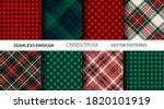 seamless vector plaid patterns. ...   Shutterstock .eps vector #1820101919