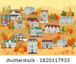 landscape with houses  autumn... | Shutterstock .eps vector #1820117933