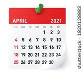April 2021   Calendar. Isolated ...